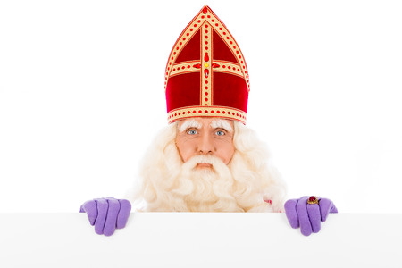 zwarte piet: Sinterklaas with placard. isolated on white background. Dutch character of Santa Claus