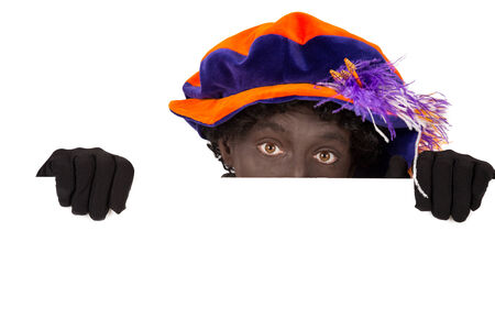 zwarte: Zwarte Piet ( black pete)  with whiteboard. typical Dutch character part of a traditional event celebrating the birthday of Sinterklaas in december