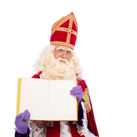 Sinterklaas portret met lege boek. geïsoleerd op een witte achtergrond. Nederlandse karakter van de Kerstman