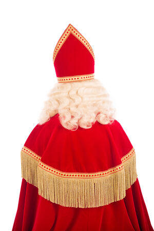 nicolaas:  Sinterklaas .Shot of behind. isolated on white background. Dutch character of Santa Claus Stock Photo