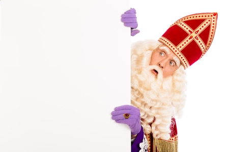 nicolaas: Sinterklaas with placard. isolated on white background. Dutch character of Santa Claus