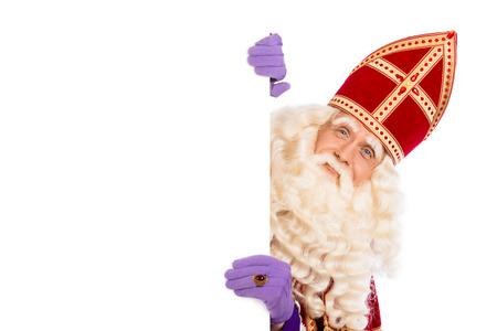 Sourire Sinterklaas avec tableau blanc. isolé sur fond blanc. Caractère néerlandais du Père Noël Banque d'images