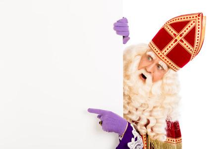 sinterklaas: Sinterklaas mit Schild. isoliert auf wei�em Hintergrund. Niederl�ndischen Charakter von Santa Claus