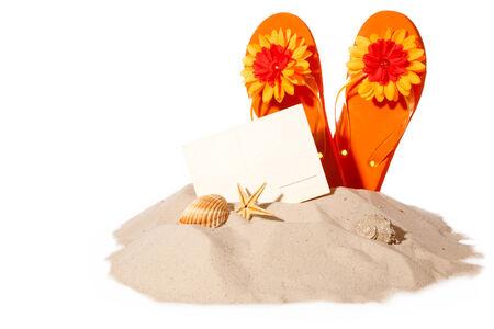flipflops: Postcard with flip-flops on sunny beach. Beachitems isolated on white background Stock Photo