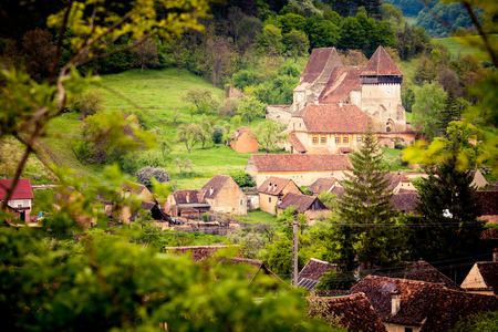 biertan: View of medieval saxon village in Romania .In Transylvania region Stock Photo