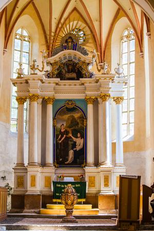 patrimony: interior Saxon church in Copsa Mare Transylvania Romania Editorial