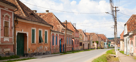 biertan: Street view of medieval Saxon village in Romania .In Transylvania region