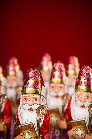 Close up of Sinterklaas. Saint  Nicholas chocolate figure of  Dutch character of Santa Claus photo