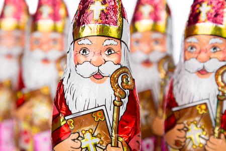 Close up of Sinterklaas. Saint  Nicholas chocolate figure of  Dutch character of Santa Claus. photo
