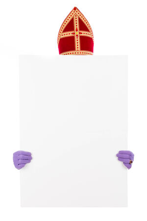 nicolaas: Sinterklaas concept with placard. isolated on white background. Dutch character of Santa Claus
