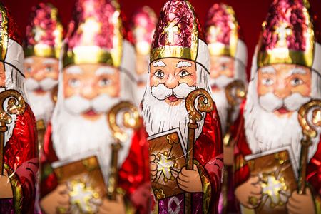 nicolaas: Close up of Sinterklaas. Saint  Nicholas chocolate figure of  Dutch character of Santa Claus