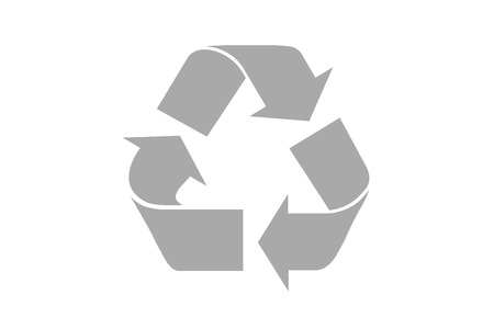 recycling: Gray Recycle Symbol  isolated on white background, clipping path included for every part.