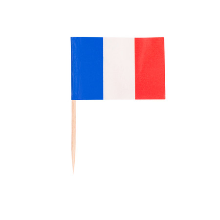 Toothpick Flag France. Paper French flag . Isolated on white background