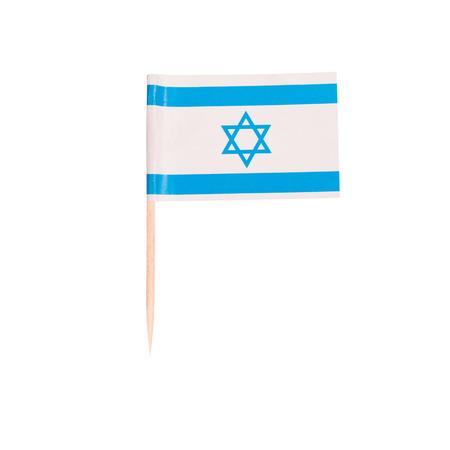 toothpick: Toothpick Flag Israel. Paper Israelian flag . Isolated on white background
