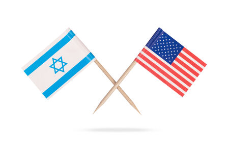 israeli: Crossed mini flag USA and Israel. Isolated on white background