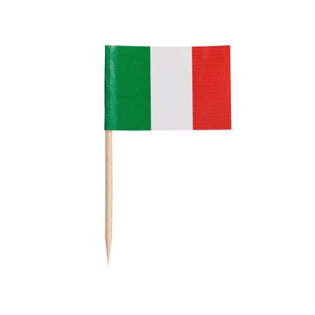 bandera de italia: Miniatura de la bandera de Italia. Palillo de papel pequeña bandera italiana. Aislado en el fondo blanco