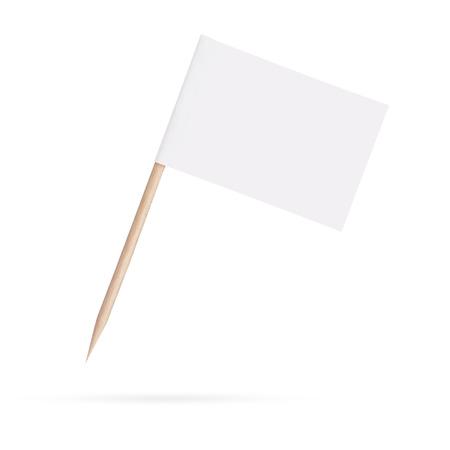 ミニチュア空白の白い旗。メッセージの準備ができています。白い背景で隔離されました。クリッピング パス