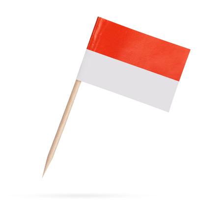 Miniatuur papier vlag Indonesië. Geïsoleerde Indonesische vlag op wit background.With hieronder schaduw Stockfoto - 35790456