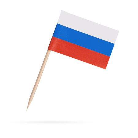 russia flag: Miniature paper flag Russia. Isolated on white background.With shadow below Stock Photo