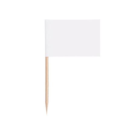 wit papier vlag. Klaar voor een bericht. Geïsoleerd op wit background.With knippen weg