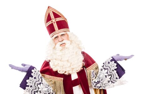 nicolaas: Sinterklaas portrait arms wide. isolated on white background with vintage look. Dutch character of Santa Claus