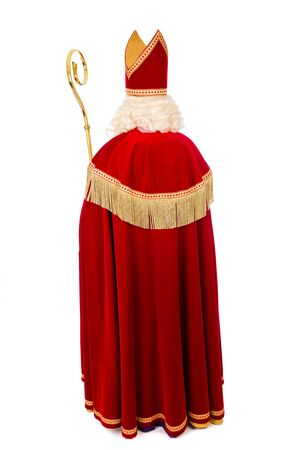 st  pete: Sinterklaas .Shot or behind.Full length. isolated on white background. Dutch character of Santa Claus Stock Photo