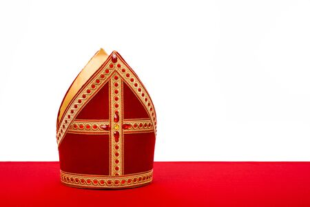 black pete: Mitre or mijter of Sinterklaas. Isolated on white backgroud. Part of a dutch sancta tradition Stock Photo