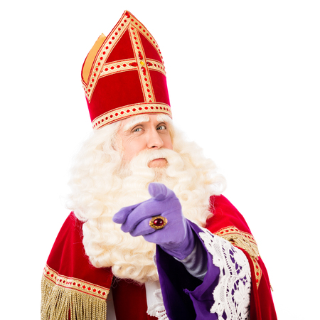 nicolaas: Sinterklaas with pointing finger. isolated on white background. Dutch character of Santa Claus Stock Photo