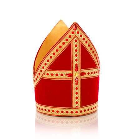 saint nicolaas: Mitre or mijter of Sinterklaas. Isolated on white backgroud. Part of a dutch sancta tradition Stock Photo