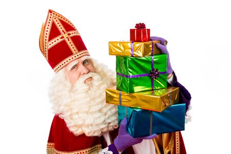 Santa Claus with gifts. typical Dutch character part of a traditional event celebrating the birthday of Sinterklaas Santa Claus in December.