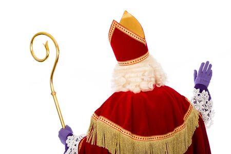 Sinterklaas .Shot of achter. geïsoleerd op een witte achtergrond. Nederlandse karakter van de Kerstman