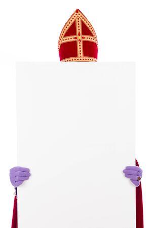 Sinterklaas concept met wit karton. geïsoleerd op een witte achtergrond. Nederlandse karakter van de Kerstman Stockfoto