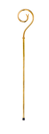 scepter: Staff or scepter of Sinterklaas. Isolated on white backgroud. Part of a dutch sancta tradition