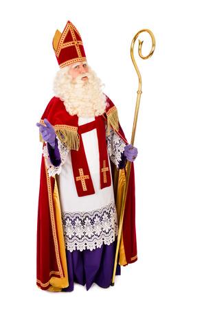 Sinterklaas portret volledige lengte. geïsoleerd op een witte achtergrond. Nederlandse karakter van de Kerstman Stockfoto