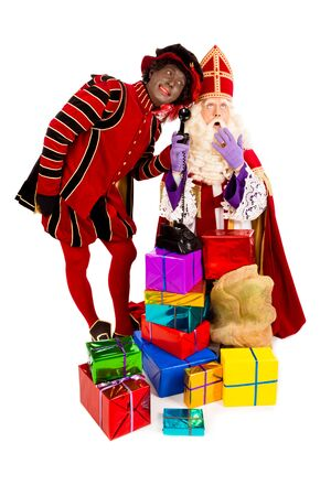 piet: Sinterklaas and zwarte piet with telephone. isolated on white background. Dutch character of Santa Claus