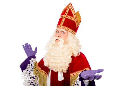nicolaas: Sinterklaas portrait arms wide. isolated on white background . Dutch character of Santa Claus