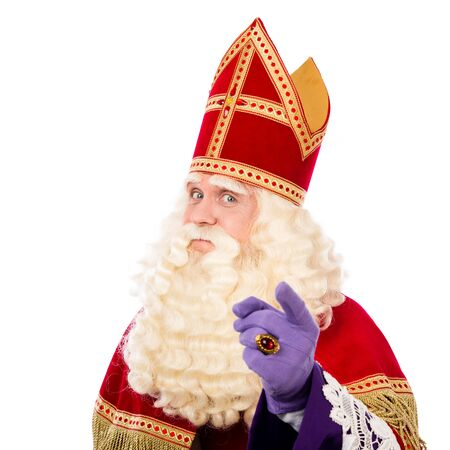 piet: Sinterklaas with pointing finger. isolated on white background. Dutch character of Santa Claus Stock Photo