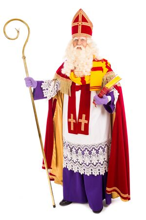 nicolaas: Sinterklaas portrait full length . isolated on white background. Dutch character of Santa Claus Stock Photo