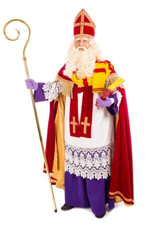 sinterklaas: Sinterklaas portrait full length . isolated on white background. Dutch character of Santa Claus Stock Photo