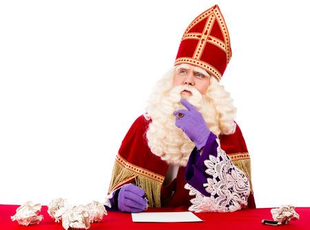 Sinterklaas denken van wat hij moet schrijven
