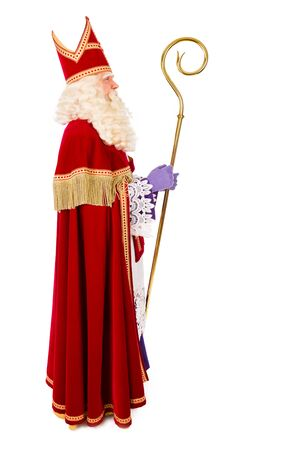 sint nicolaas: Sinterklaas portrait full length . isolated on white background. Dutch character of St. Nicholas and Black Pete Stock Photo