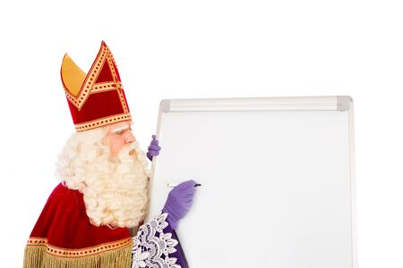 zwarte: Sinterklaas writing on blank whiteboard. isolated on white background. Dutch character of Santa Claus