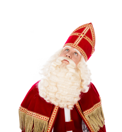 piet: Sinterklaas looking up. isolated on white background. Dutch character of Santa Claus