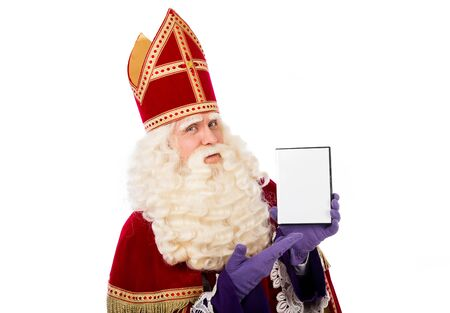 sinterklaas with blank DVD box. Replaceable with other objects 스톡 콘텐츠