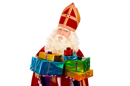 Sinterklaas with gifts . typical Dutch character part of a traditional event celebrating the birthday of st.Nicolaas (Santa Claus) in december.
