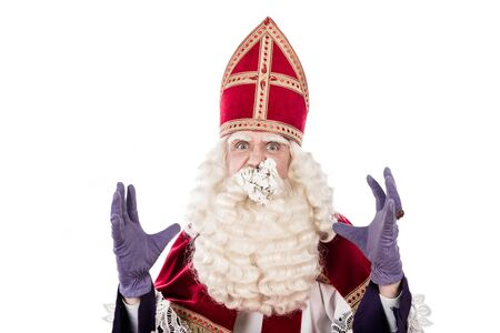 nicolaas: Sinterklaas with paper prop. isolated on white background. Dutch character of St.Nicholas