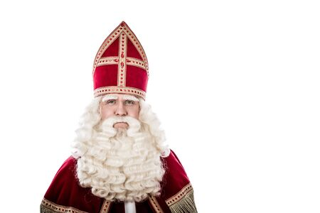 sint nicolaas: St. Nicholas portrait. Vintage look isolated on white background. Dutch character of St. Nicholas