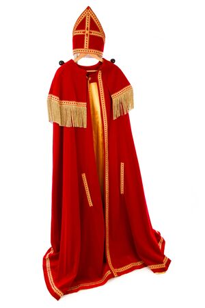 nicolaas: Sinterklaas costume. isolated on white background. Dutch character of Santa Claus
