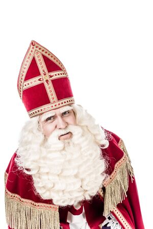 nicolaas: Sinterklaas portrait.Old vintage look. isolated on white background. Dutch character of St. Nicholas Stock Photo