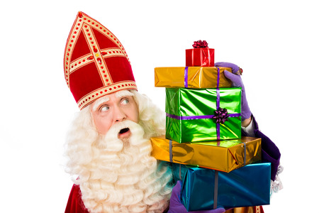 nicolaas: Sinterklaas with gifts . typical Dutch characterof st.Nicholas and Zwarte Piet
